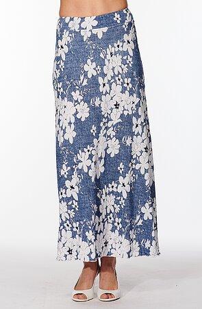 Dlhá modrá dámska sukňa s bielymi kvetmi 157