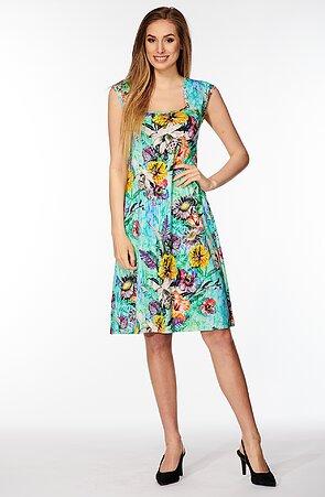 Letné tyrkysové dámske šaty s farebnými kvetmi 7084
