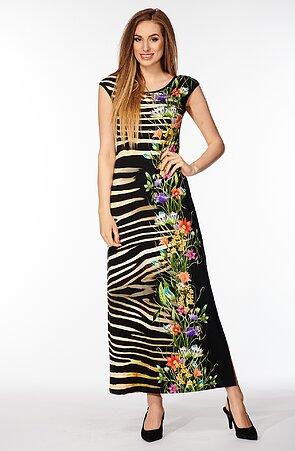 Dlhé čierne dámske šaty s rozparkom a farebnou potlačou 7067