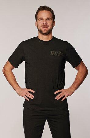 Bavlnené čierne pánske tričko s potlačou 467