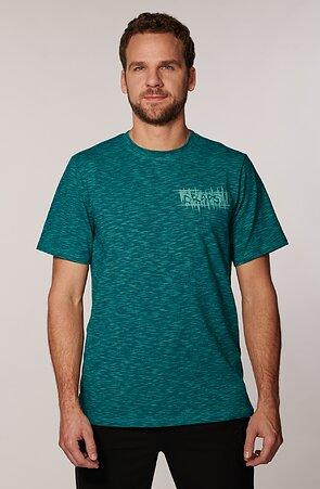 Melírované zelenomodré pánske tričko s potlačou 467