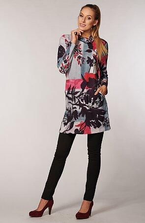 Voľnejšie farebné dámske šaty s vreckami 7057