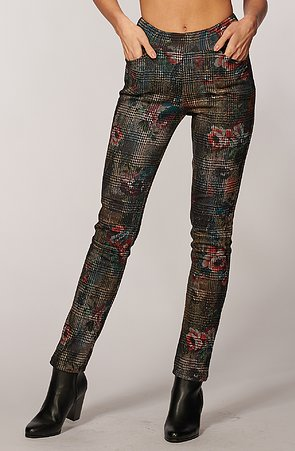 Elegantné úzké farebné kárované dlhé dámske nohavice 347