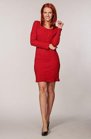 Upnuté červené dámske šaty s vyrazeným vzorom 7187