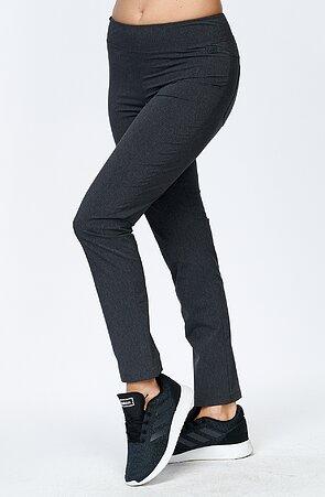 Lehké melírované šedé dámské kalhoty nad kotníky 313