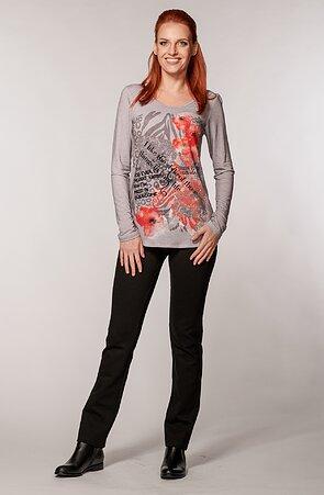 Elegantné rovné čierne bodkované dámske nohavice 385