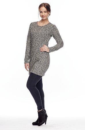 Krátke leopardie dámske šaty s dlhými rukávmi 7074