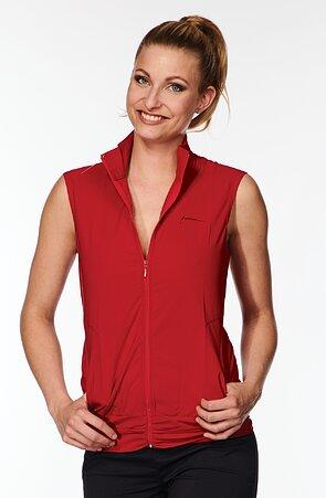 Funkčné červená dámska vesta s riasením 697 sil