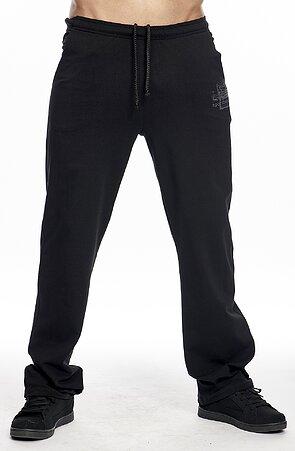 Užšie bavlnené čierne pánske nohavice s potlačou 422