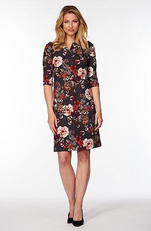 Elegantné šedé dámske šaty s farebnými kvetmi 7044