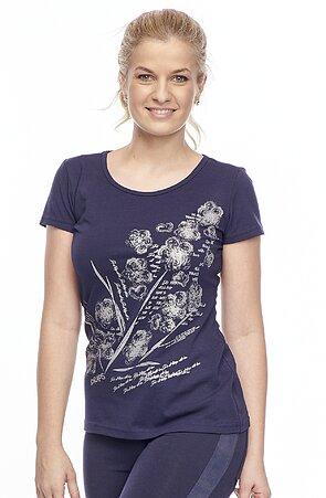 Bavlnené tmavo modré dámske tričko s potlačou 24