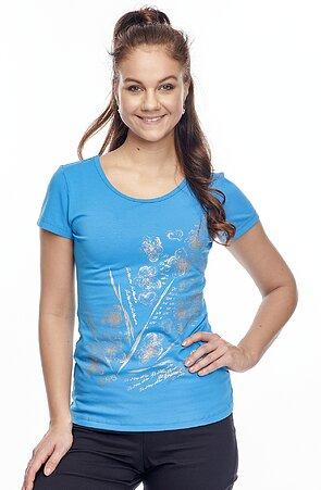 Bavlnené modré dámske tričko s potlačou 24