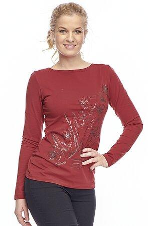 Bavlnené tmavo červené dámske tričko s potlačou 62