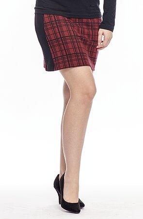 Krátka červená károvaná dámska sukňa s rozparkom 175