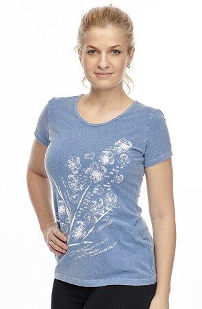 Bavlnené riflové dámske tričko s potlačou 24
