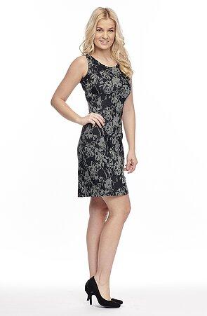 Letné čiernošede vzorované dámske šaty bez rukávov 817