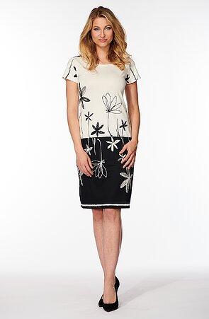 Elegantné čiernobiele dámske šaty s kvetmi 831