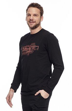 Bavlnené čierne pánske tričko s dlhými rukávmi a potlačou 455
