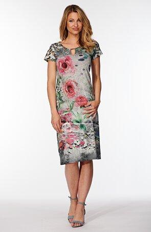 Elegantné farebné dámske šaty s kvetmi 7025