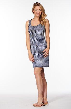 Prúžkované modrobiele dámske šaty 7182
