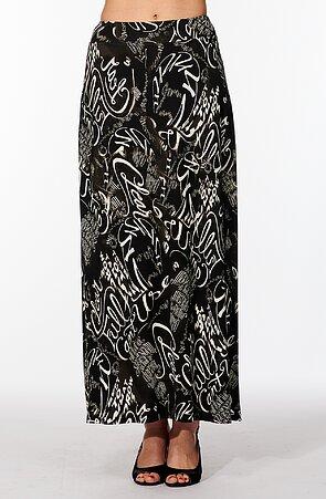 Letná dlhá čierna dámska sukňa s bielymi písmenami 154
