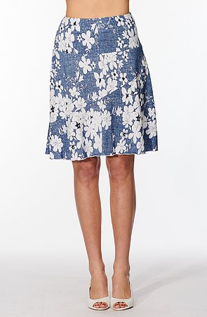 Modrá dámska sukňa s bielymi kvetmi a volánom 142