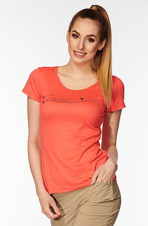 Funkčné lososovej dámske tričko s potlačou 89