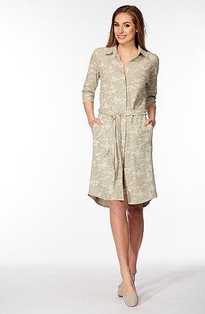 Košeľové dámske šaty s maskáčovým vzorom 7023