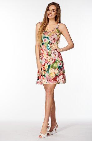 Letné farebné dámske šaty s pivonkami bez rukávov 7046