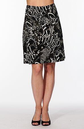 Letná širšia čierna dámska sukňa s bielymi písmenami 133