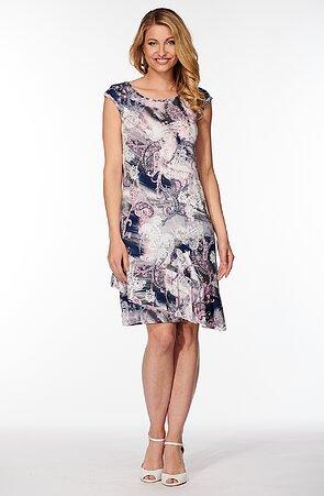 Letné farebné dámske šaty s šikmým volánom 7179
