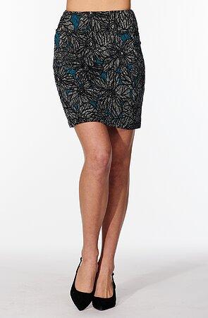 Kratšia kvetovaná šedomodrá dámska sukňa s rozparkom 812