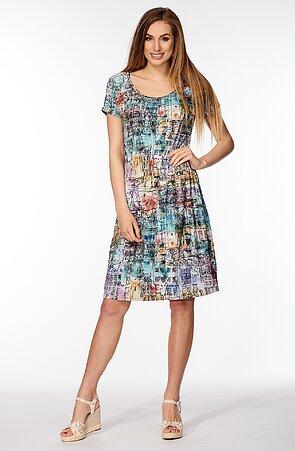 Kimonové farebné dámske šaty s gumkou v páse 7035