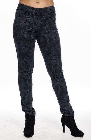 Modré maskáčové elegantné dlhé dámske nohavice 347