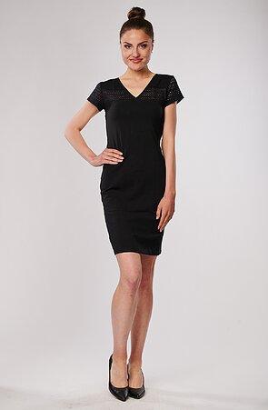 Bavlnené čierne dámske šaty s čipkou 7059