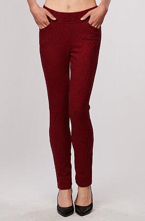 Červené vzorované elegantné dlhé dámske nohavice 347