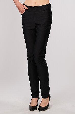 Elegantné teplejšie čierne dámske nohavice 390