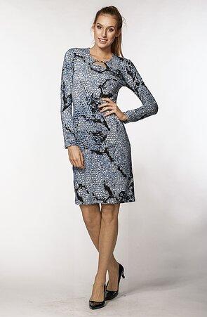 Elegantné vzorované modré dámske šaty s dlhými rukávmi 7024