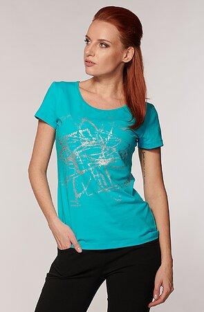 Bavlnené modré dámske tričko s potlačou 54