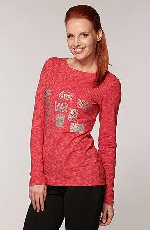 Melírované ružové dámske tričko s dlhými rukávmi 42