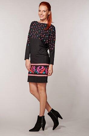 Kimonové čierne dámske šaty s bodkami a bordúrou 7094