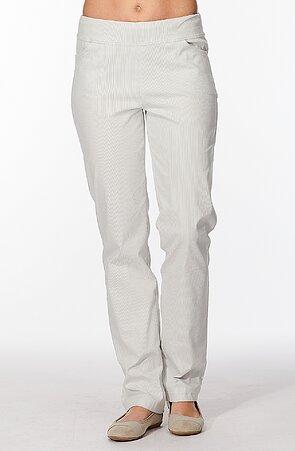 Elegantné rovné šedé prúžkované dámske nohavice 385