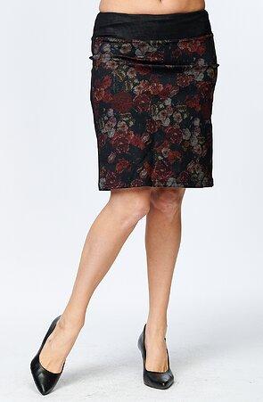 Kvetinová dámska sukňa s rozparkom 181