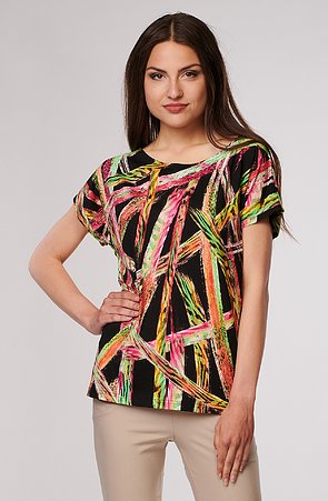 Kimonová černá dámská halenka s barevnými pruhy 784