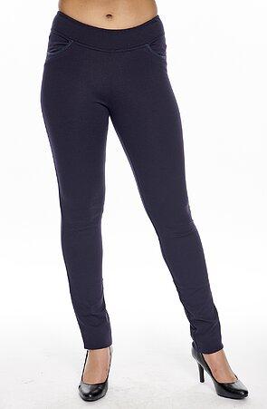 Tmavomodré dlhé dámske nohavice s úzkymi nohavicami 305