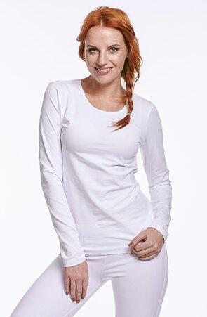 Biele dámske tričko s dlhými rukávmi 86