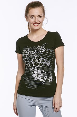 Bavlnené čierne dámske tričko s potlačou 57