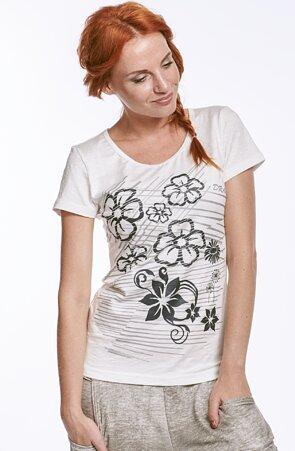 Biele dámske tričko s jemnou štruktúrou a potlačou 57