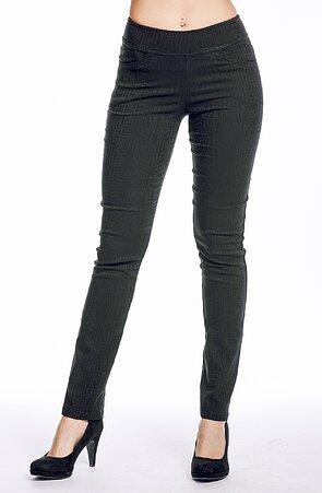 Čierne vzorované elegantné dlhé dámske nohavice 347