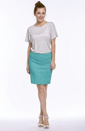 Kratšie smaragdová dámska sukňa s rozparkom 812